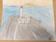 South stack drawing with sunset