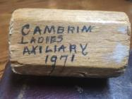 Cambrian Ladies' Auxiliary gavel, 1971