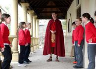 KS2 pupils with Roman Teacher