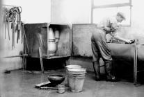 Wahing up, Pantyrhuad dairy, c. 1953