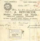 Invoice from A Hitchcox Market Gardener,...