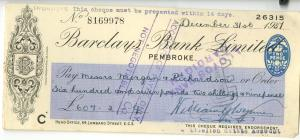 Barclays Bank Pembroke Cheque 1937