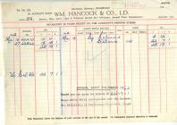 Receipt from Wm Hancock and Co Ltd Pembroke 1962