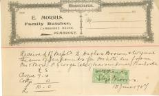 Receipt from E. Morris Family Butcher, Pembroke...