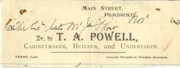 Penlythyr Anfoneb oddi wrth T. A. Powell 1926