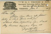 Postcard from W. G. J. Thomas and Son 1937