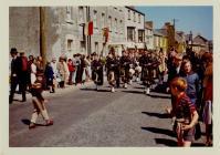 Pipe Band passing Woodstock House, Cowbridge
