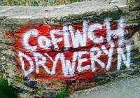 'Cofiwch Dryweryn'; mural, Barmouth