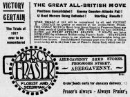 Hysbyseb am hadau Fraser (1917)