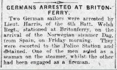GERMANS ARRESTED AT BRITONFERRY (1914)