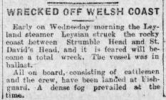 WRECKED OFF WELSH COAST (1917)
