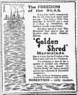 Hysbyseb am marmalêd Robertson Golden Shred (1919)