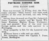 PORTMADOC SCHOONER SUNK (1917)