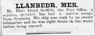 Rhys Lloyd Griffith, Llanbedr (1917)