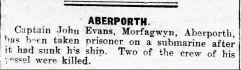 John Evans, Aberporth (1918)