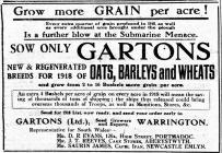 Hysbyseb am hadau Gartons (1918)
