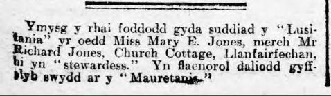 Mary E. Jones, Llanfairfechan (1915)