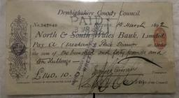 North and South Wales Bank Limited cheque