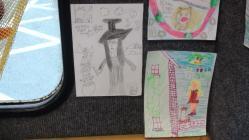 Kelsey's drawings in the library van 2016