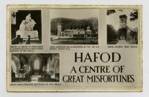 Cerdyn post yn dangos Plasdy'r Hafod ac Eglwys...