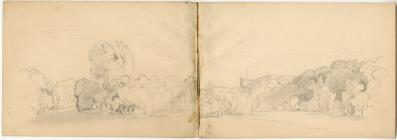 'Pencil sketch landscape study, two sheets...