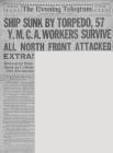 SHIP SUNK BY TORPEDO, 57 Y. M. C. A. WORKERS...