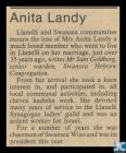 Newspaper obituary of Anita Landy, Llanelli, 1980