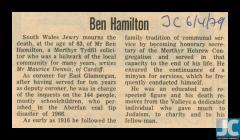 Newspaper obituary of Ben Hamilton, Merthyr...