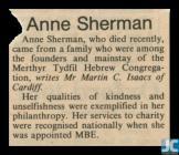 Newspaper obituary of Anne Sherman