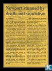 Newspaper clipping about the desecration of the...