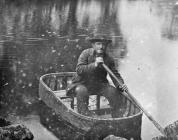 Ioan Glan Lledr in his coracle, c. 1880