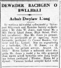 DEWRDER BACHGEN O BWLLHELI (1915)