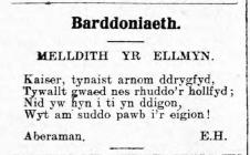 Barddoniaeth: MELLDITH YR ELLMYN (1915)