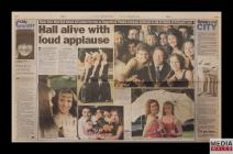 "Newspaper clipping of an article, ""Hall alive..."