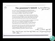 The Pensioner's Lament', a poem by Harry...
