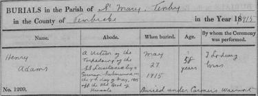 Cofnod claddu Henry Adams