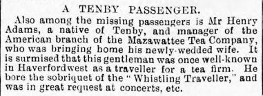 Henry Adams, Tenby, on the LUSITANIA