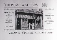 Thomas Walters, Crown Stores, Cadoxton.