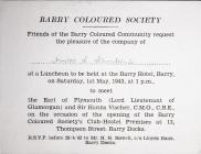 Barry Coloured Society Luncheon Invitation