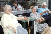 Members of Tuesday Lunch Club enjoying the sun