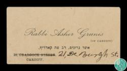 A business card for Rabbi Asher Grunis of 21 De...