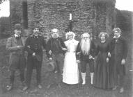 Drama group by Newcastle Emlyn castle, 1911