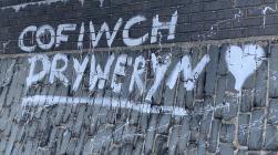 'Cofiwch Dryweryn' mural, Tywyn beach...