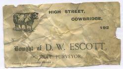 29 High St, Cowbridge, invoice 1920s