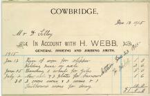 35 & 35a High St, Cowbridge, 1915 invoice