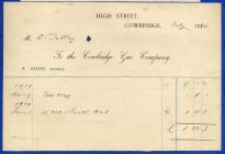 Cowbridge Gas Company invoice 1920