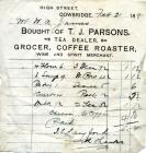 33 High St, Cowbridge, 1891 invoice