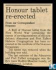 Newspaper article about a re-erected Aberavon...