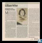 Newspaper obituary of Lilian Wise, 4 May 2012