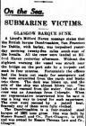 On the Sea. SUBMARINE VICTIMS. GLASGOW BARQUE...